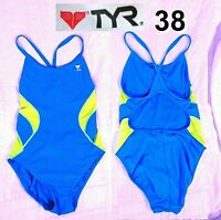 TYR Sport Women's Alliance T-Splice Maxfit Swimsuit Blue Size 38