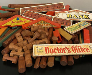 Vintage Lincoln Logs Mixed Lot 435pc Wooden Building Blocks Logs Roof Signs