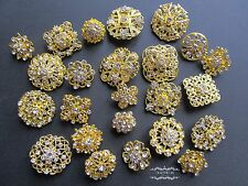 24 Gold Rhinestone Brooch Lot Mixed Pin Wholesale Crystal Wedding Bouquet DIY