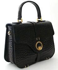 RAPHAEL Crocodile Alligator MERCEDES BLACK Bag Handbag Exotic Leather from ITALY