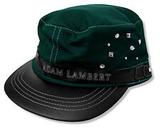 "ADAM LAMBERT ""STUDDED"" GREEN CADET CAP HAT FAUX LEATHER NEW OFFICIAL FITTED OSFM"