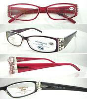 L375 Superb Quality Ladies Reading Glasses/Spring Hinges/Fashion Diamante Detail