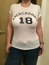 Womens White Abercrombie & Fitch T-Shirt Top - Size Large