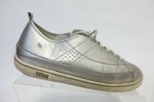 FIT FLOP Silver Lace-Up Leather Sneakers Sz 8 Women