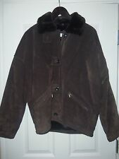 Jones New York Brown Suede Faux Fur Lined Leather Jacket Coat Small EXC!