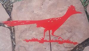 Roadrunner red metal bird wildlife garden yard lawn art w/ detachable stake