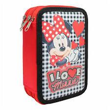 """DISNEY Minnie Mouse """"I LOVE MINNIE"""" - TRIPLO matita caso con accessori"""