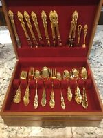 1881 Rogers Oneida Golden Baroque Rose Silverware Set
