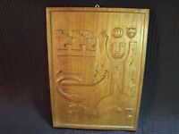 """9 3/4"""" BY 13 1/4"""" HAND CARVED EQUADORAN MYTHOLOGICAL DEITIES WOOD PLAQUE"""