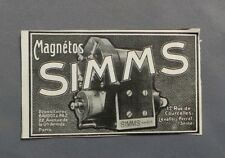 PUBLICITE ANCIENNE ADVERT CLIPPING 041017 / MAGNETOS SIMMS TYPE SU4 BAUDOT & PAZ