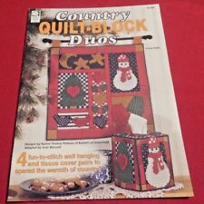 "Plastic Canvas Pattern Booklet ""Quilt-Block Duos"" 4 Wall Hanging & Tissue Covers"