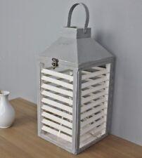 Lanterne Lampe-tempête lanterne en bois blanc gris bois lamelles Chandelier