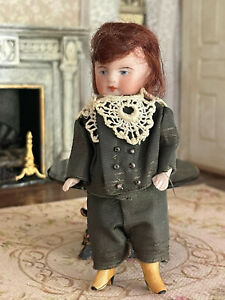 Antique Miniature TINY All Bisque Doll Boy Jointed Arms Legs Silk Suiting Auburn