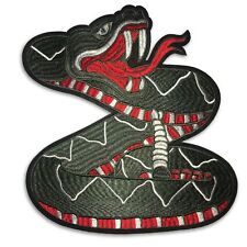 X-Large Grey Rattle Snake  patch, iron on or sew on, shipped from USA