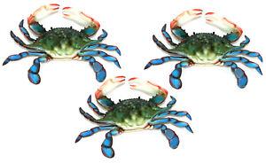 6 inch Maryland Blue Crab Set of 3 Beach Tiki Bar Wall Decor