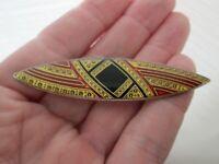 Vintage Pierre Bex Geometric Gold Red Jet Enamel Silver Art Deco Bar Brooch Pin