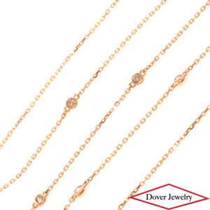 Estate 0.40ct Diamond 18K Gold 18'' Long Station Necklace NR
