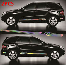 Laser Reflective Racing Stripe Graphics Decal 2Pcs Waterproof For Car Body Side