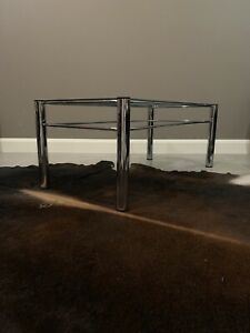 Vintage 1980's Full Chrome & Smoked Glass Coffee & Side Table Set PICK UP ONLY