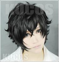P5 Persona 5 Kurusu Akira Joker Black Game Costume Cosplay Wig +Track+Wig Cap