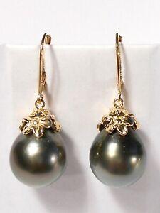 11mm Tahitian pearl dangle earrings, diamonds, solid 14k yellow gold.