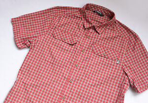 The North Face OUTDOOR Nylon shirt men Short Sleeve top size L Large Red CHECK