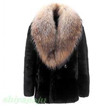 Chic Youth Men Big Fur Collar Jacket Winter Warm Thick Faux Fur Coat Short Parka