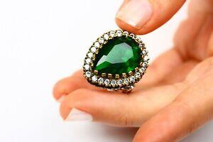 Turkish Handmade Jewelry Hurrem Emerald Ottoman Ring. 925 Silver, size 8 US.
