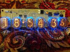 Nixie tube clock in12 (6 tubes) Blue. Steampunk. Vintage. Fallout.