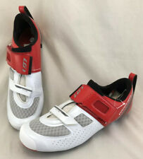 Louis Garneau Tri X-Lite II Carbon Men's Road Bike Shoes 48 12.5 White Red
