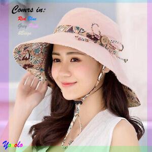 Women Summer Wide Brim Bucket Sun Hat UV Protection Beach Packable Folding Cap