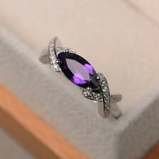 1.10 Carat Real Diamond Marquise Cut Amethyst Ring 14K White Gold Size L M N O P