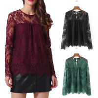 Women Vintage Transparent Lace Shirt Long Sleeve O-Neck Blouse Fall Ladies Tops