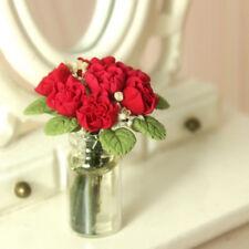 Miniature Red Rose in Glass Vase Dolls House Bunch Flowers Pot Garden Decor 1:12