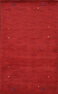 Contemporary Handmade Gabbeh Bordered Oriental Area Rug Wool Modern Carpet 3'x5'