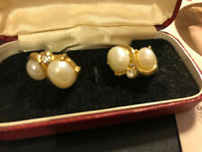 Diamante Clip On Earrings Vintage Classic Faux Pearl &