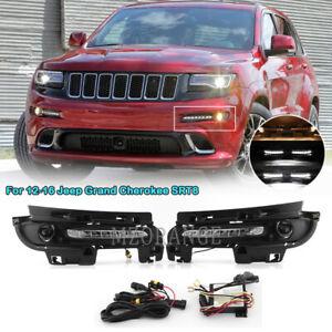 LED DRL Daytime Running Fog Lights Assembly For 12-16 Jeep Grand Cherokee SRT8