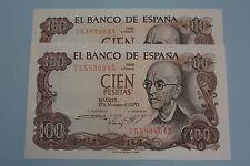 1970 FALLA 100 PESETAS PAREJA CORRELATIVA SERIE 7S BANKNOTE SPAIN  UNC SC