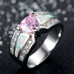 White Gold Filled Ring With White Fire Opal And Pink Cubic Zirconia Gems