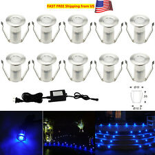 10Pcs 19mm 12V Blue Outdoor Yard Patio LED Deck Rail Stairs Step String Lights
