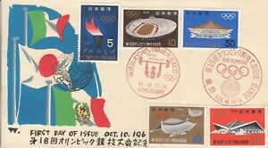 Tokyo Olympic Games Venues & Torch Relay Roseido FDCs Japan 1964