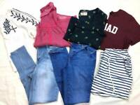 7 JUNIORS Womens TEEN Clothes Lot M 8 Jeans Tops Hollister Abercrombie & Fitch