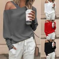 Womens One Shoulder Long Sleeve Hoodies Sweatshirt Sweater Jumper Pullover Tops