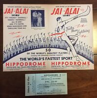 1938 Jai-Alai New York NY Hippodrome Program Babe Ruth W/ Original Ticket