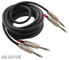 """10ft Kirlin Dual 1/4"""" TRS Stereo Male to Male Plug Noise Free Black Audio Cable"""