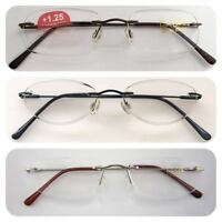 Superb Quality Rimless Reading Glasses/Spring Hinges/Stainless Steel Arms*