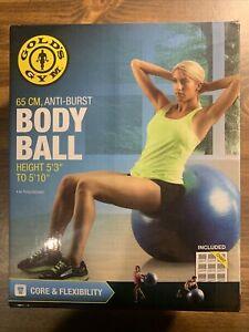 Gold's Gym 65cm Anti-Burst Exercise Body Ball, Blue New In Box