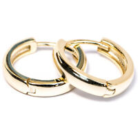 Men's  Hoop 14k Gold Plated 925 Sterling Silver Small Huggie Hoops Clip Earrings