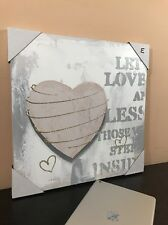 Wall Art Painting Canvas FRAMED Home Décor Glitter Love Heart Abstract (16X16)
