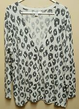 Old Navy XXL Gray Leopard Animal Print Sweater Cardigan Metallic Long Sleeves